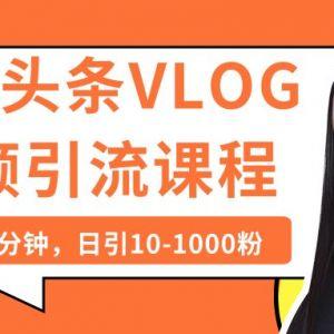 实操今日头条日引上千粉丝的VLOG视频课程
