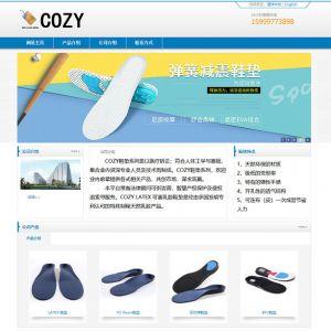 织梦dedecms蓝色简洁中英文海绵制品鞋垫公司网站模板
