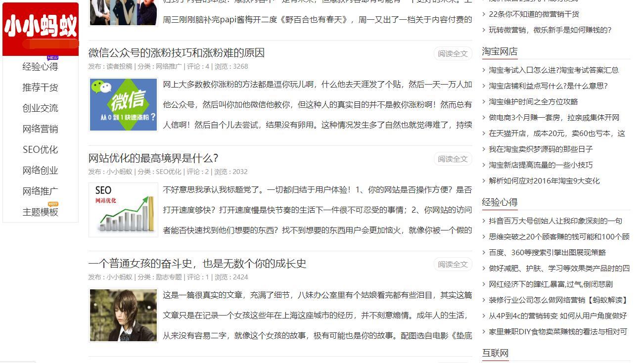 zblog超牛SEO主题 小小蚂蚁主题模版 PHP+ASP宽屏/窄屏共4套 第1张