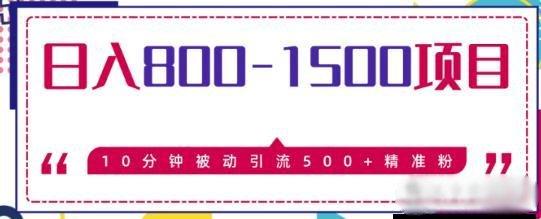 售价2468元的暴利项目日入800-1500的,10分钟被动引流500+精准粉 第1张