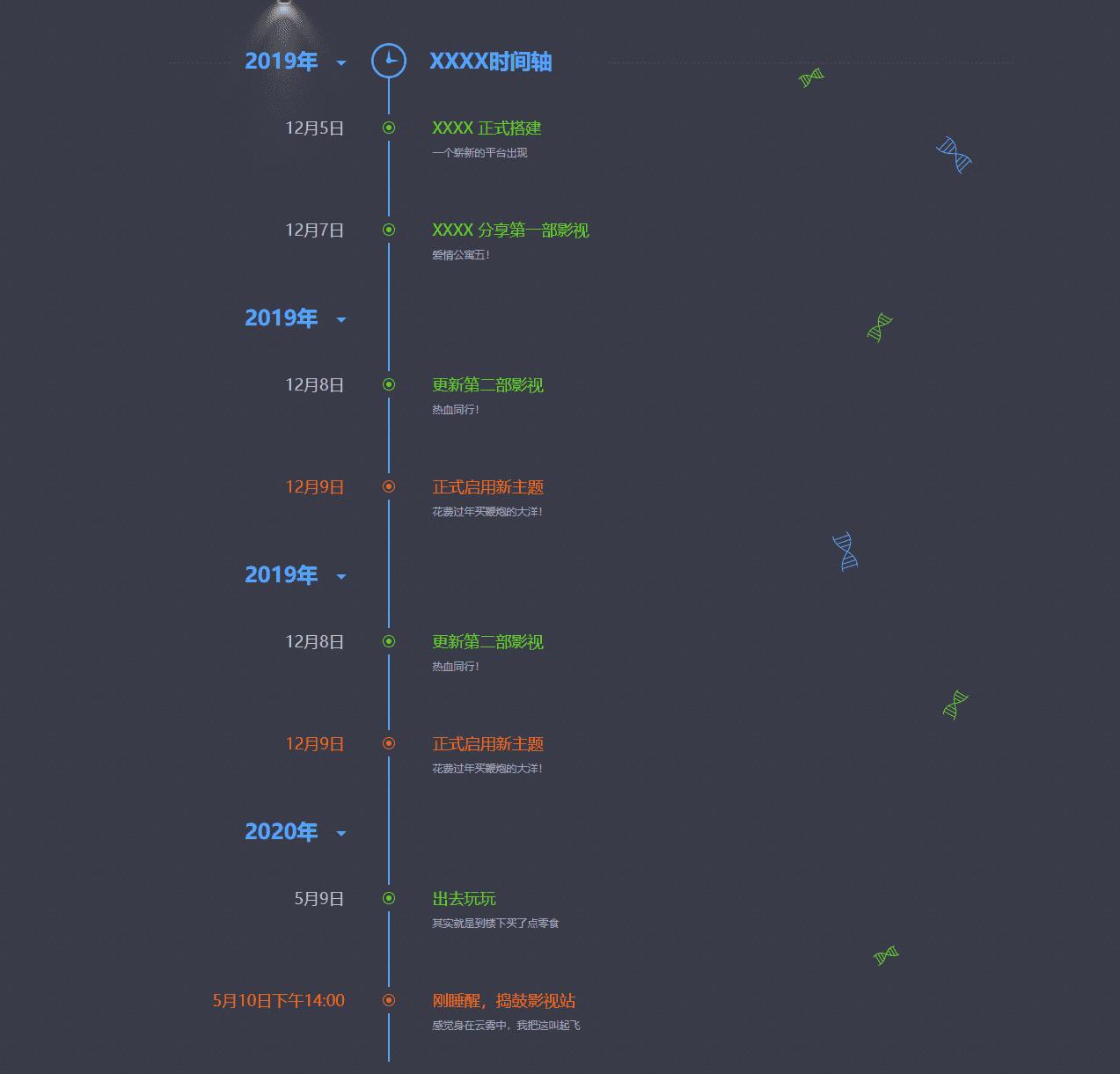 网站发展历史轨迹记录单页HTML源码 第1张