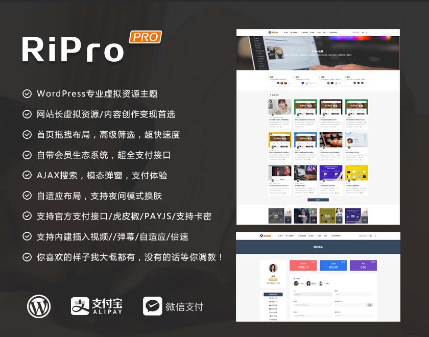WordPress主题RiPro7.0日主题 最新去授权无限制开心版 第1张