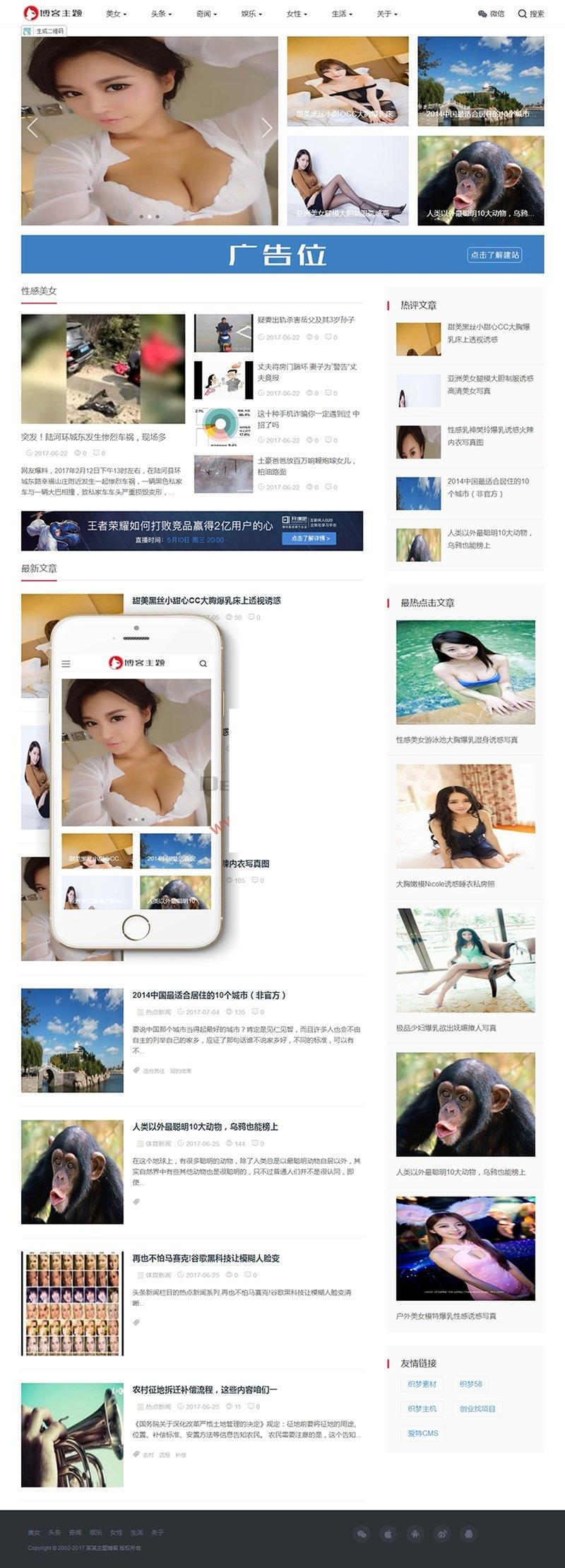 响应式主题博客新闻网站源码 自适应手机端 织梦模板 第1张