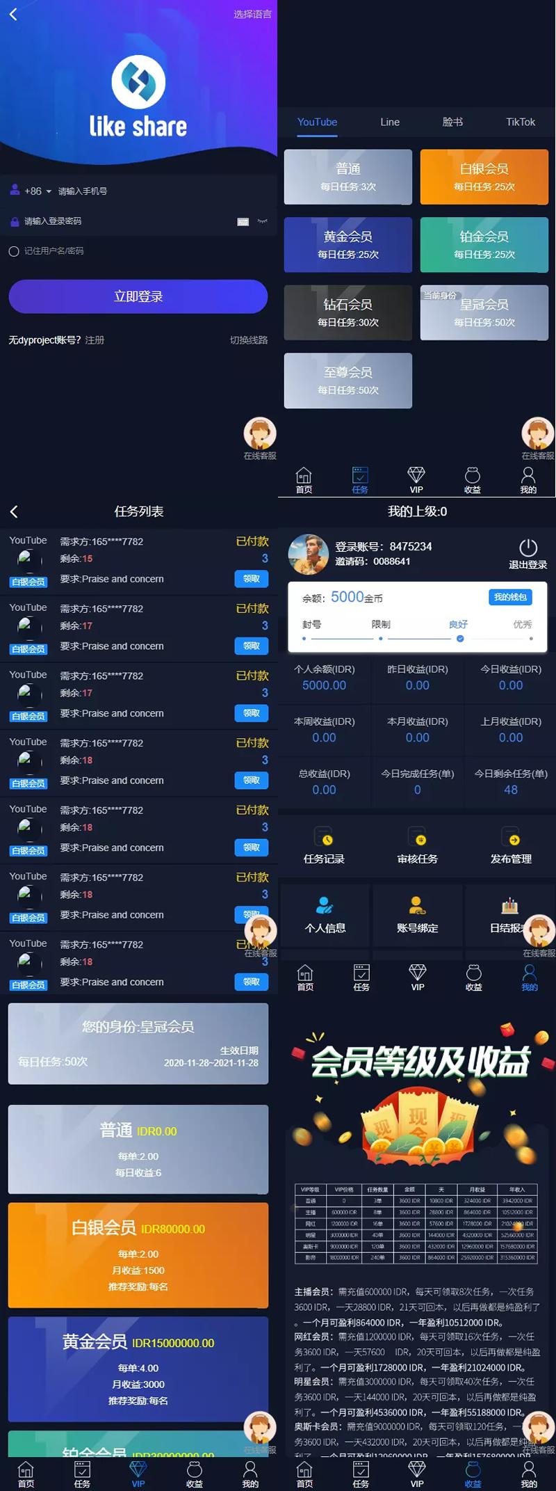 【任务点赞】国际多语言版抖音+快手+脸书+LINE+TIKTOK悬赏平台 第1张